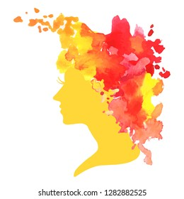 vector silhouette profile of a woman with watercolor hair at white background