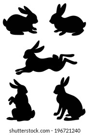 Vector silhouette of the rabbit, hare