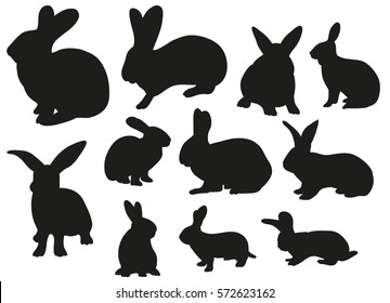 vector silhouette of the rabbit, isolation set
