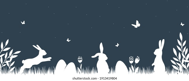 Vector silhouette rabbits in grass background. Easter background with bunny and eggs.