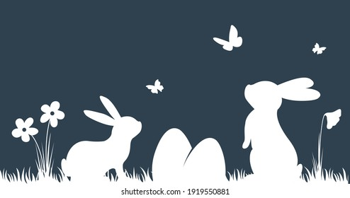 Vector silhouette rabbits on dark background. Easter background with bunny, eggs and butterfly.