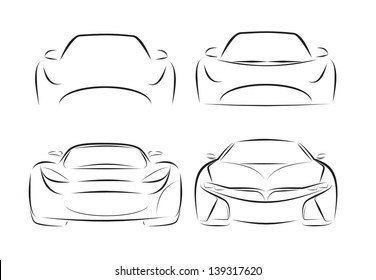 vector Silhouette of racing car for sports design.