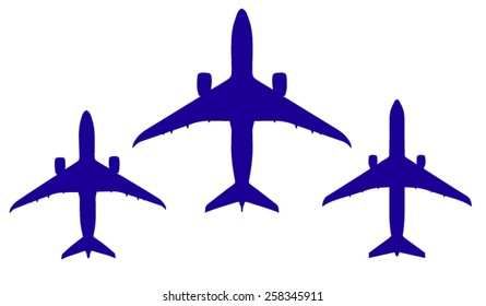 Vector silhouette real icon airplane