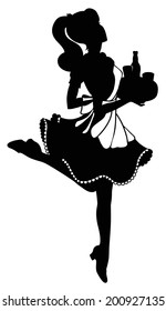 Vector silhouette of retro pin-up waitress running with tray isolated on white
