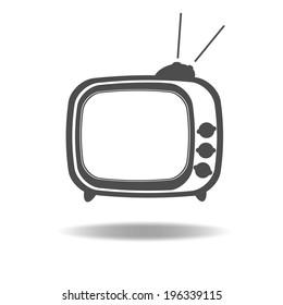 vector silhouette of retro TV
