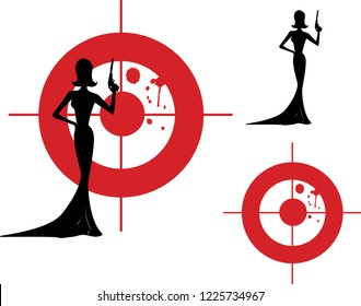 Vector silhouette of retro woman with gun and target