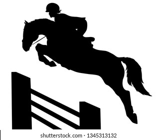 Vector silhouette of rider and horse, equestrian competitions