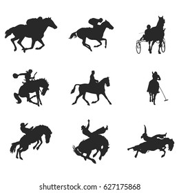 Vector silhouette of a rider on a horse. Black horse silhouette in motion. Vector illustration.