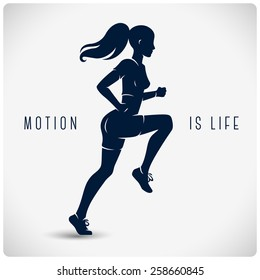 "Vector silhouette of running girl with slogan ""motion is life"""