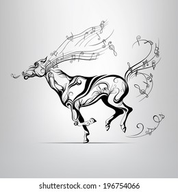 Vector silhouette of a running horse with a mane of music notes