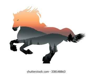 Vector silhouette of running horse with mountain landscape. Evening.
