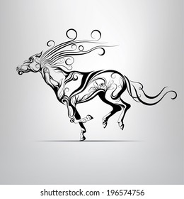 Vector silhouette of a running horse in a vegetative ornament
