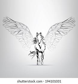 Vector silhouette running Pegasus