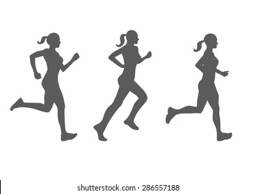 vector silhouette of running woman
