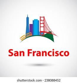 Vector silhouette of San Francisco
