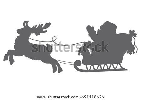 Vector Silhouette Of Santa Claus With Reindeer And