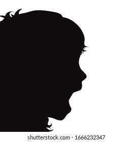 Vector silhouette of scream anonymous child on white background. Symbol of people and fear.