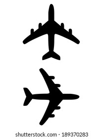 Vector silhouette set of an airplane