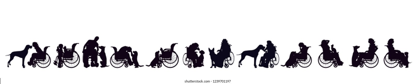 Vector silhouette of set of people on wheelchair with dog.
