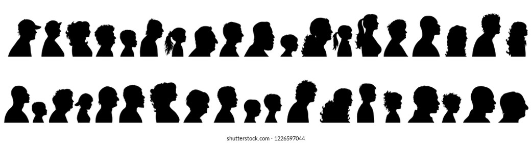 Vector silhouette of set of profile face of different people.