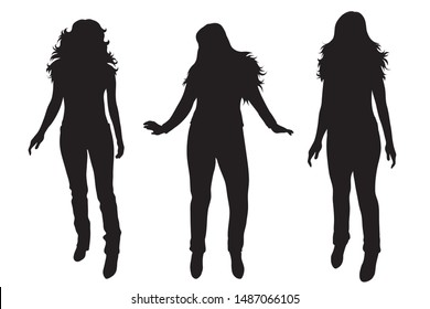 Vector silhouette of set of women on white background. Symbol of female, people, group, dance.