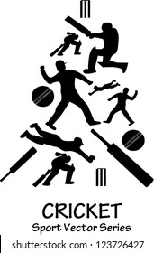 Vector silhouette of several cricket actions