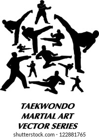 Vector silhouette of several taekwondo martial art basic technique include standing, kicking, flying kick, side kick, and punch