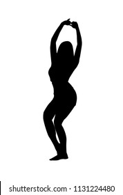 vector of silhouette sexy woman dance