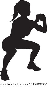Vector silhouette of a sexy woman squatting