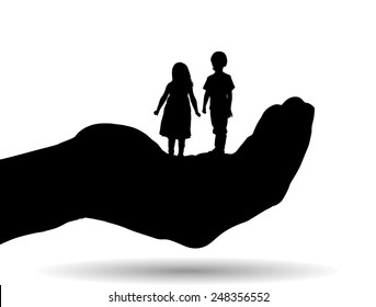Vector silhouette of a siblings on palm on white background.
