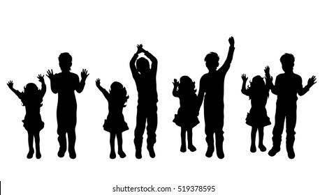 Vector silhouette of siblings on white background.