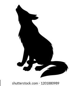 Vector silhouette of sitting howling wolf side view