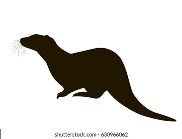vector silhouette of a sitting otter