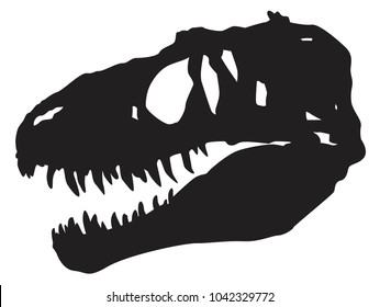 vector silhouette of a skull of a dinosaur