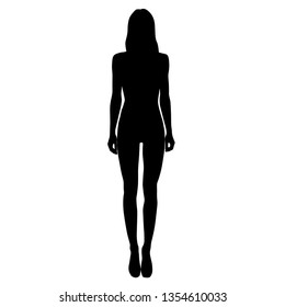 Vector silhouette of a slim young woman standing, black color, isolated on white background