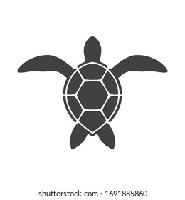 Vector silhouette of small sea turtle. Isolated on white background