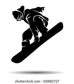 vector silhouette snowboarder