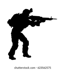 vector silhouette of a soldier in armour with a machine gun