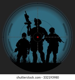 Vector silhouette of a soldier with a gun in the optical sight