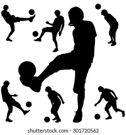 Vector silhouette sport man on white background.