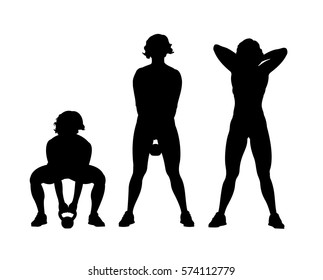 vector silhouette of a sporty girl lifting the dumbbell