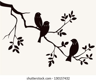 Vector silhouette of spring birds sitting on twig of tree. Decorative branch of tree with birds.