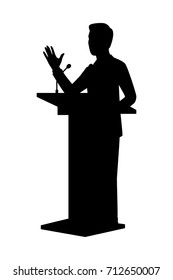 Vector silhouette of a standing businessman on podium. Isolated vector on white background.