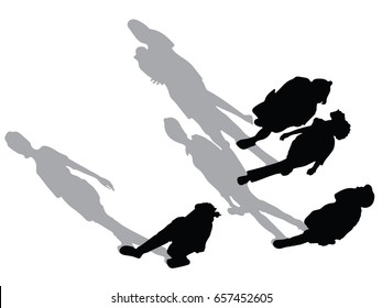 Vector silhouette of street walk