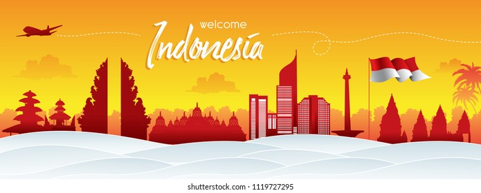 Vector silhouette sunset design, Illustration of Indonesia Icons and landmarks.