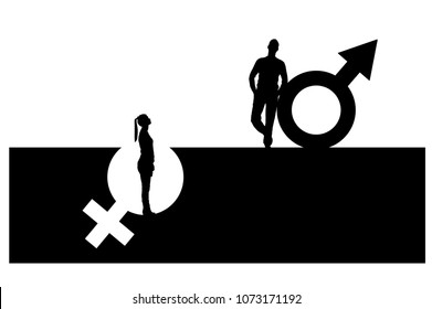 Vector silhouette of a superior man over a woman who stands in a pit out of a gender symbol. The concept of gender inequality and discrimination
