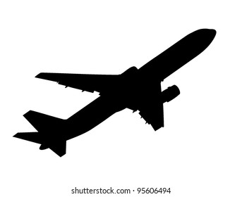 vector silhouette of taking up passenger airplane