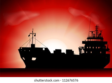 Vector silhouette of the tanker ship on sunset
