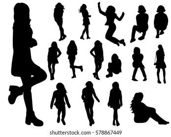 vector, silhouette, teen, collection, isolated