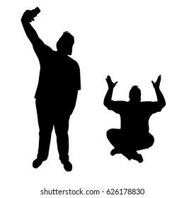 Vector silhouette of a teenager in different poses, man fat  sitting and standing, with smart phone, black color, isolated on white background